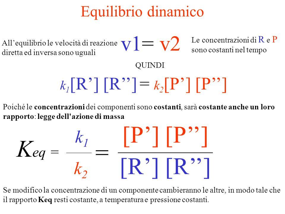 Keq = = v1= v2 k1 [P'] [P''] k2 [R'] [R''] Equilibrio dinamico